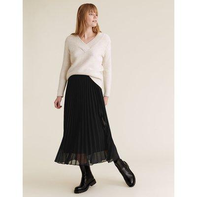 M&S Collection Mesh Polka Dot Pleated Midi Skirt