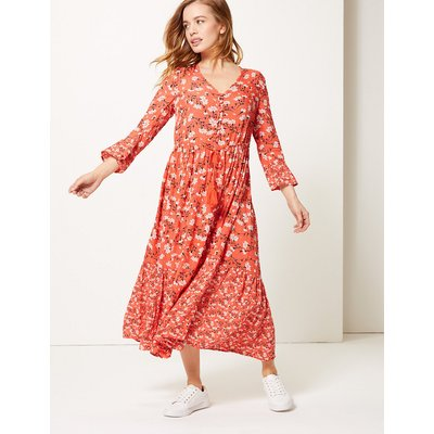 M&S Collection PETITE Floral Drawcord Relaxed Midi Dress