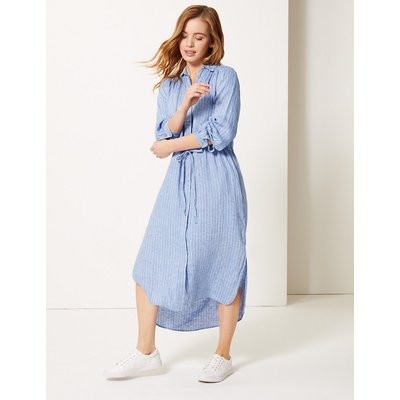 M&S Collection PETITE Pure Linen Striped Shirt Midi Dress