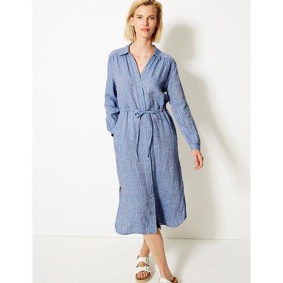 M&S Collection Pure Linen Striped Shirt Midi Dress
