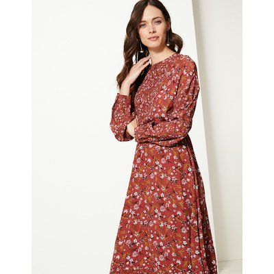M&S Collection Floral Print Waisted Midi Dress