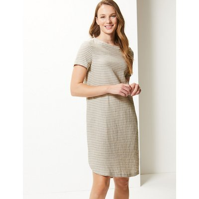 M&S Collection Pure Linen Striped Shift Dress