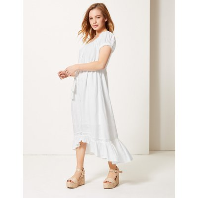 M&S Collection PETITE Pure Linen Waisted Midi Dress