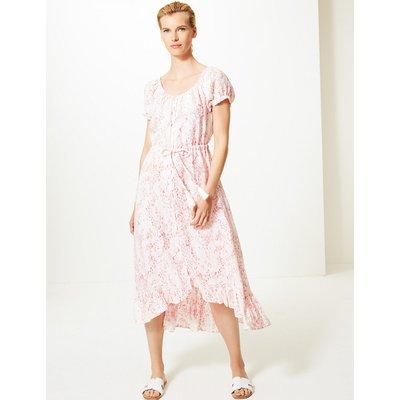 M&S Collection Pure Linen Animal Print Waisted Midi Dress