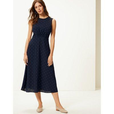 M&S Collection Star Print Waisted Midi Dress