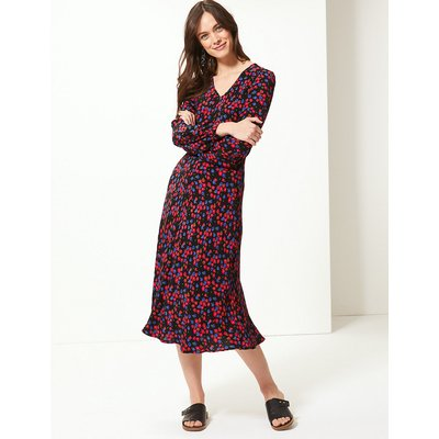 M&S Collection Floral Print Fit & Flare Midi Dress