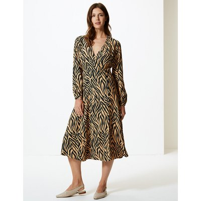 M&S Collection Animal Print Wrap Midi Dress