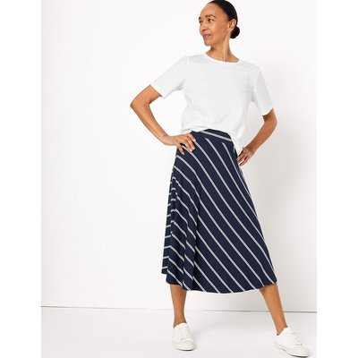 M&S Collection Striped Jersey Fit & Flare Midi Skirt