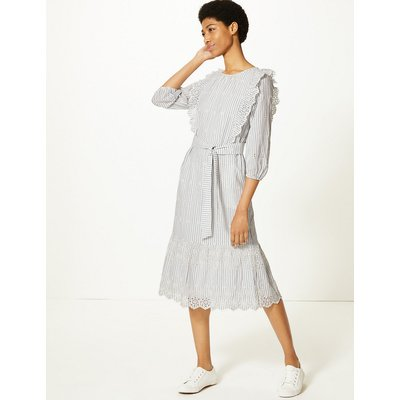 M&S Collection Pure Cotton Striped Waisted Midi Dress