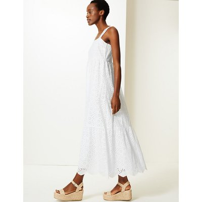 M&S Collection Pure Cotton Embroidered Waisted Maxi Dress