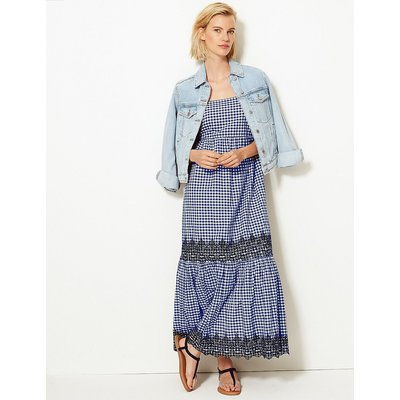 M&S Collection Pure Cotton Gingham Slip Maxi Dress