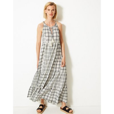 M&S Collection Cotton Blend Checked Relaxed Maxi Dress