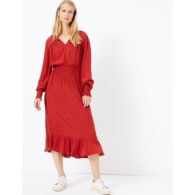 M&S Collection Tie Neck Waisted Midi Dress