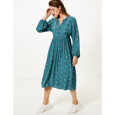 M&S Collection Floral Midi Relaxed Fit Dress