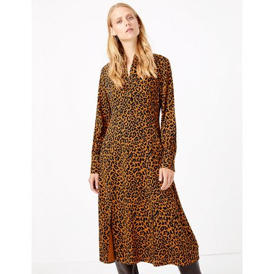 M&S Collection Animal Print Shirt Midi Dress