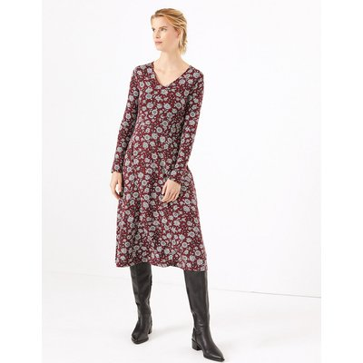 M&S Collection Floral Print Jersey Fit & Flare Midi Dress