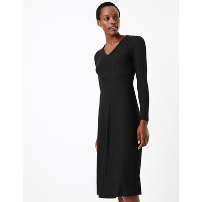 M&S Collection Ribbed Jersey Fit & Flare Midi Dress