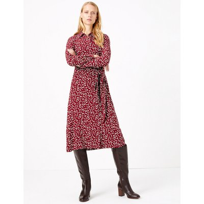M&S Collection Printed Tie Front Shirt Dress