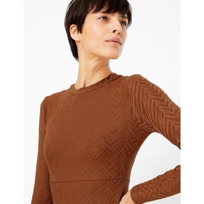 M&S Collection Jacquard Print Fit & Flare Midi Dress