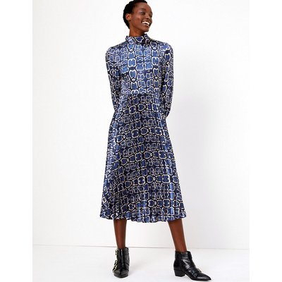 M&S Collection Satin Snakeskin Print Waisted Midi Dress