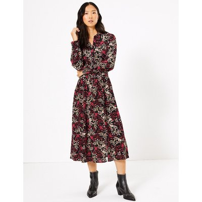 M&S Collection Floral Waisted Midi Shirt Dress
