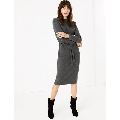 M&S Collection Cotton Rich Belted Midi Shift Dress