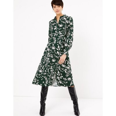 M&S Collection Floral Print Midi Shirt Dress