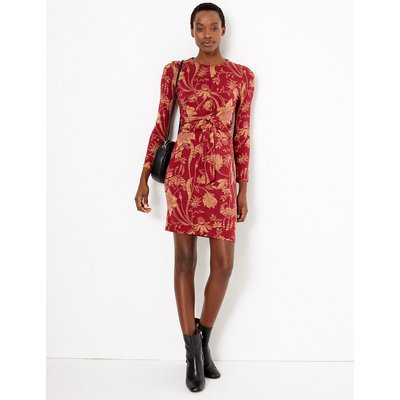 M&S Collection Floral Jersey Tie Waist Bodycon Dress