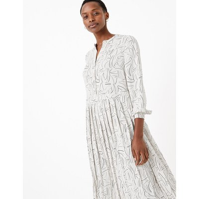 M&S Collection Printed Pleated Relaxed Midi Dress
