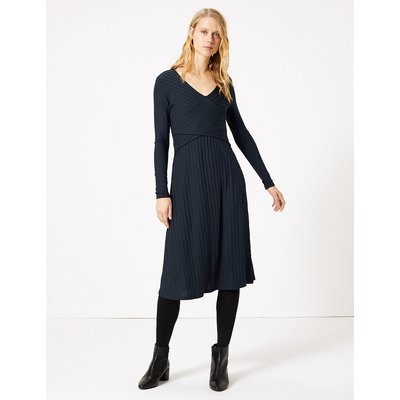 M&S Collection Wrap Detail Fit & Flare Midi Dress