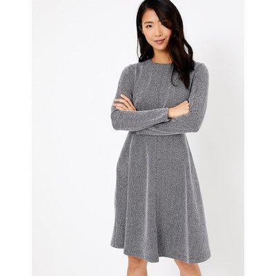 M&S Collection Cotton Blend Herringbone Fit & Flare Dress