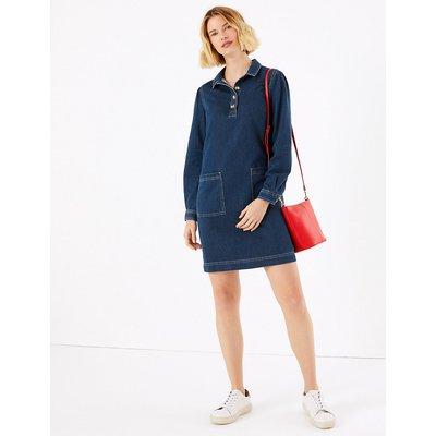 M&S Collection Pure Cotton Button Detailed Shift Dress
