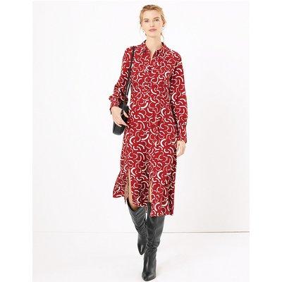 M&S Collection Swirl Print Midi Shirt Dress