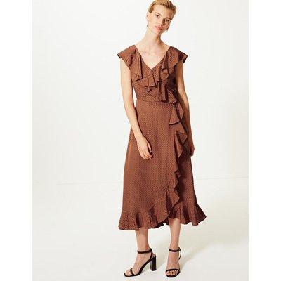 M&S Collection Polka Dot Frill Detail Wrap Midi Dress