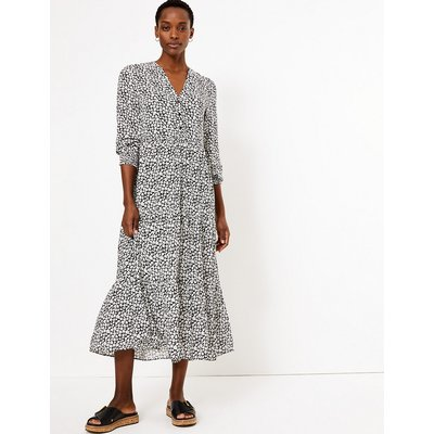 M&S Collection Floral V Neck Relaxed Midi Dress