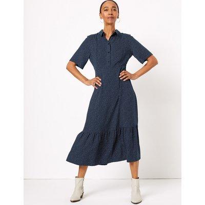 M&S Collection Polka Dot Tiered Shirt Midi Dress
