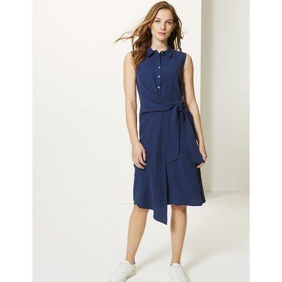 M&S Collection Side Tie Sleeveless Shirt Midi Dress