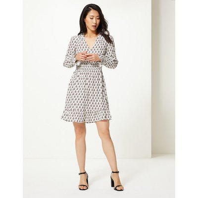 M&S Collection Floral Print Cuff Detail Waisted Dress