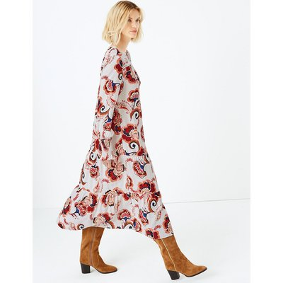 M&S Collection Printed Shirred Cuff Relaxed Dress