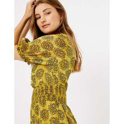M&S Collection Leaf Print Shirred Waisted Dress