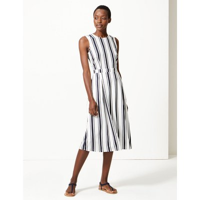 M&S Collection Striped Waisted Midi Dress