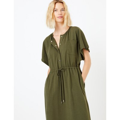 M&S Collection Pure Cotton Utility Jersey Waisted Midi Dress