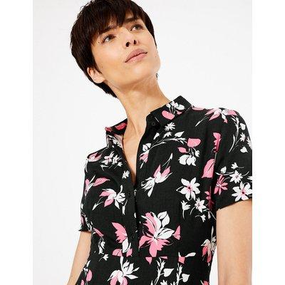 M&S Collection Floral Print Shirt Midi Dress