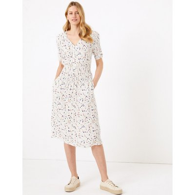 M&S Collection Ditsy Floral V-Neck Midi Waisted Dress