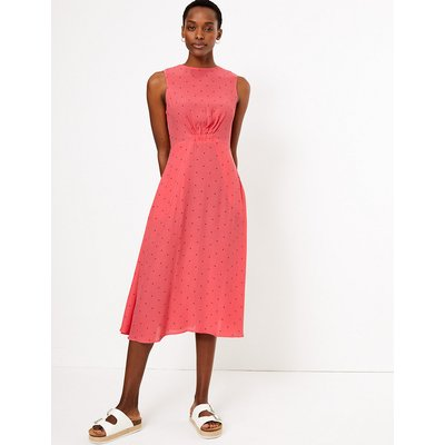 M&S Collection Printed Waisted Midi Dress