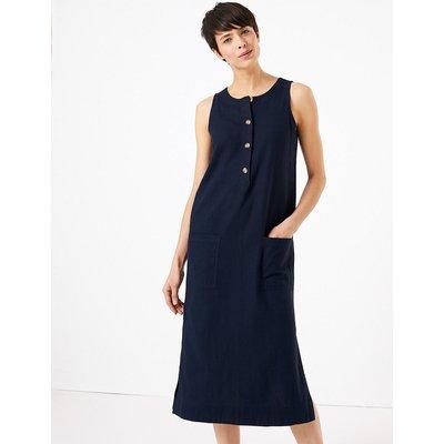 M&S Collection Linen Blend Shift Midi Dress