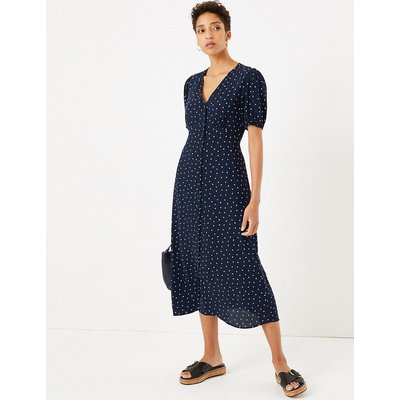 M&S Collection Heart Print V Neck Belted Midi Dress