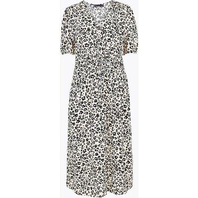 M&S Collection Animal Print V-Neck Midi Waisted Dress