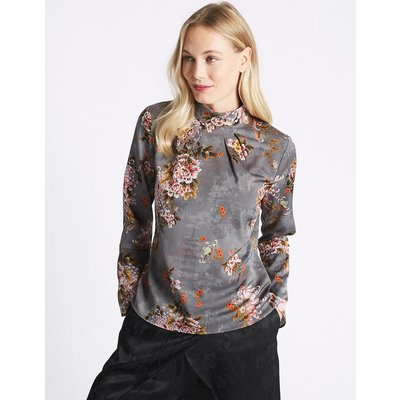 M&S Collection Printed Turtle Neck Long Sleeve Blouse