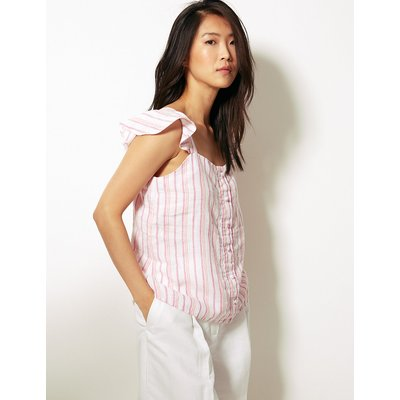M&S Collection Pure Linen Striped Camisole Top